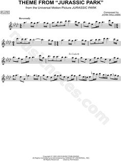 """Theme from Jurassic Park"" from 'Jurassic Park' Sheet Music (Flute Solo) - Download & Print"