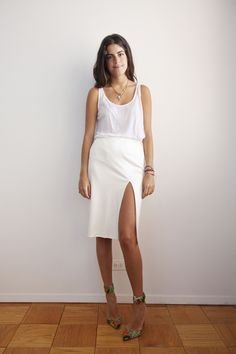 White tank and long white slit skirt, colorful heels #minimalist #fashion #style