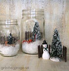 Easy holiday craft: How to create a winter wonderland scene inside a mason jar.  girlinthegarage.net