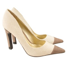 Faux snake skin pointed pumps with grey toe and heel.