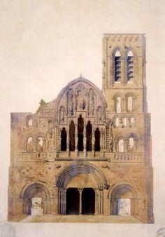 Église de la Madeleine, façade ouest (avant restauration), aquarelle par Eugène Viollet-le-Duc, 1840. Médiathèque de l'architecture et du patrimoine (Archives photographiques) © CMN