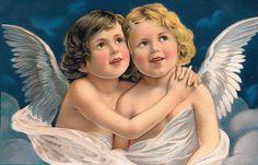 A Merry Christmas, vintage Christmas angels Vintage Christmas Images, Old Christmas, Christmas Angels, Vintage Images, Victorian Christmas, Victorian Valentines, Vintage Pictures, Vintage Cards, Vintage Postcards