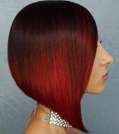 Blunt Angled Straight Red Ombre Bob