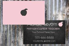 Etsy Business Cards, Teacher Business Cards, Teacher Cards, Apple Business, Double Sided Business Cards, Substitute Teacher, Design Show, Card Sizes, Color Show