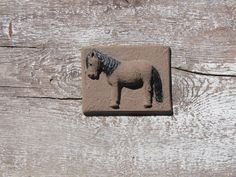 Vintage Ceramic Wall Hanging Small Tile with Horse by OLaLaVintage