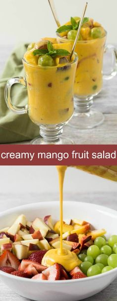 This Creamy Mango Fruit Salad is like having dessert any time of the day. You will love all the goodness that goes into this salad. via @tastesoflizzyt