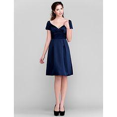A-line V-neck Knee-length Satin Bridesmaid Dress Cheap Bridesmaid Dresses Online, Knee Length Bridesmaid Dresses, Wedding Dresses, Dresses Uk, Summer Dresses, Navy Cocktail Dress, Chic Dress, V Neck Dress, Buy Dress