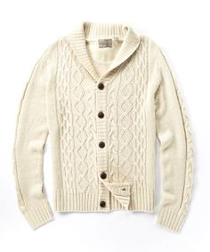 Loving this Natural Shawl Neck Cardigan on #zulily! #zulilyfinds