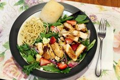 chicken, strawberry & feta salad with leftover pasta and dinner rolls (inspiration: http://www.myrecipes.com/recipe/grilled-chicken-salad-strawberries-feta)