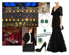 """HRH the Duchess of Sussex attending the Pre-Wedding Gala of His Majesty King James III with Dr. Evangeline Rockefeller"" by annaschoko007 ❤ liked on Polyvore featuring Marchesa, Oscar Heyman and Jimmy Choo"