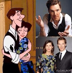 If Benedict Cumberbatch and Sophie Hunter were cartoons, they would be Roger and Anita from 101 Dalmatians - so cute!!! <-- Yes yes yes