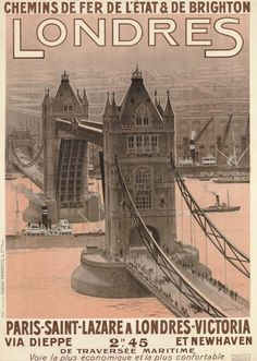 """""""Let's Go to London!"""" – Really Cool Gallery of Vintage Travel Posters Advertising Trips to London Brighton, London Poster, London Art, Photo Vintage, Vintage Art, Vintage Style, A4 Poster, Poster Prints, Poster Wall"""