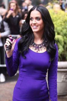 katy perry, hot, lady, singer, purple, dress, brunette
