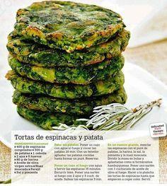 Tortitas espinaca y papa Veggie Recipes, Mexican Food Recipes, Vegetarian Recipes, Healthy Recipes, Kitchen Recipes, Cooking Recipes, Comida Diy, Vegan Foods, Going Vegan