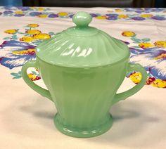 Fire King Jadeite Shell Swirl Pattern Covered Sugar Bowl & Lid ~ Jadite Green Sugar Bowls, Vintage Fire King, Swirl Pattern, Kitchen Items, Vintage Stuff, Pyrex, Girly Girl, Shades Of Green, Milk Glass