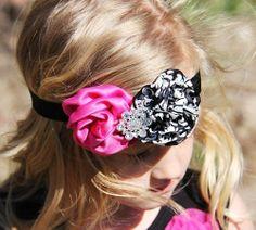 Damask Hot Pink Rosette Headband sparkleinpink.com Custom Headbands, Pink Headbands, Icon Clothing, Rosette Headband, Girls Accessories, Rosettes, Damask, Hot Pink, Bling