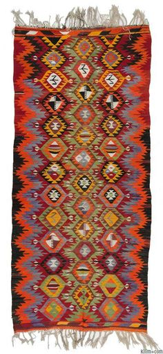 Vintage Afyon Kilim Rug with bright colors. This piece is around 40 years old and in very good condition. Afyon is in the Aegean Region of Turkey.