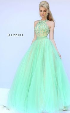 2015 Sexy Beads Prom Dress Sherri Hill 32218 Light Green