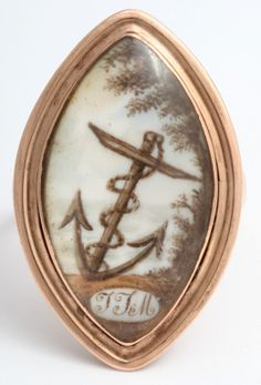 """Hope And Steadfastness: Georgian Anchor Navette Ring, 1775 - """"To the Memory of an Affectionate Father Who Died Jan 30, 1775"""""""