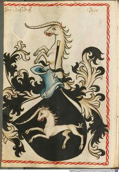 Wappen mit Einhorn   Coat of Arms with Unicorn