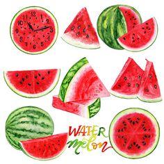 Watermelon Clipart Summer Clipart Watercolor Fruit Clipart  #watercolor #watermelon #clipart #drawing #aquarellepainting #aquarelle #акварель #иллюстрация #MariyaArts