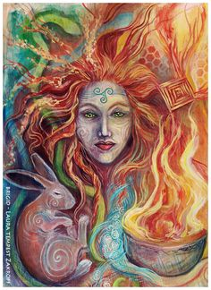 """owlkeyme: """"Just finished today - painting on birch panel of Brigid - happy Imbolc/Candlemas! Brighid Goddess, Celtic Goddess, Celtic Mythology, Goddess Art, Celtic Paganism, St Brigid, Celtic Tree, Triple Goddess, Gods And Goddesses"""