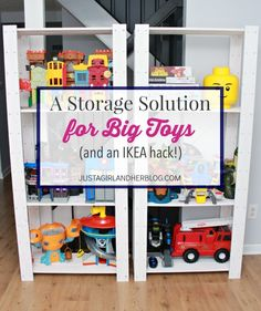 A Storage Solution for Big Toys {and an IKEA hack!} Love this way of organizing big toys! SUPER affordable, too! Toy Room Storage, Toy Room Organization, Kids Storage, Storage For Toys, Large Toy Storage, Storage Ideas, Ikea Storage Solutions, Organizing Solutions, Organizing Tips