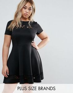 ec3a7c868bd Club L Plus Lace Insert Skater Dress Plus Size Club Dresses