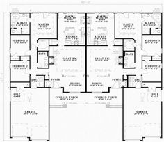 Multi-Family Plan 62357 - One-Story Style Multi-Family Plan with 3162 Sq Ft, 6 Bed, 4 Bath, 4 Car Garage Duplex Floor Plans, House Floor Plans, Family House Plans, Bedroom House Plans, Electrical Layout, Model House Plan, Monster House, Duplex House Design, Kerala House Design