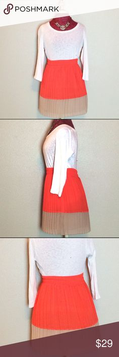 Coral & Tan Color-Block Skirt w/ Accordion Pleats In perfect condition! Accordion pleats are fun and flirty! . Can be dressed up with a fancy top and heels, dressed professionally with a blazer or dressed down with a tshirt and flip flops!  Elastic waist. Very flattering.  Originally $80.  No trades no low balls. Please use the offer button. Urban Outfitters Skirts Circle & Skater