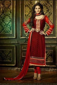 Chic Black & Red Salwar Kameez - TARJ07190197S | Indian Trendz
