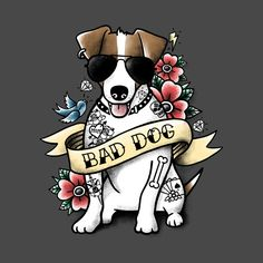 Check out this awesome 'Bad+dog+jack+russell+tattoo' design on @TeePublic!