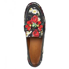 Dolce & Gabbana Black & Multicolour Cotton Embellished Loafers ($430) ❤ liked on Polyvore featuring shoes, loafers, round toe shoes, kohl shoes, multicolor shoes, cotton shoes and woven shoes