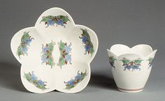 Cup and saucer with butterflies, ca. 1735. Chantilly Manufactory.  Soft paste porcelain. Metropolitan Museum of Art.
