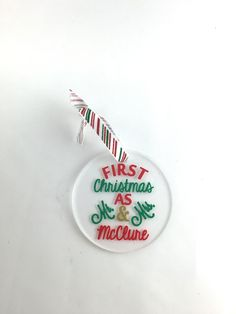 Personalized Christmas ornament, wedding ornament, engagement gift, personalized ornaments, christmas gifts, first christmas as mr and mrs