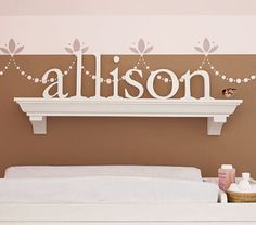 shelf over bed with letters spelling name, can make letters, wall and/or shelf colorful for smaller kids