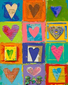 mixed media hearts, using the found paper, constructiona nd pattern paper etc 9 panels Heart collage- Love:) Great way to use all those pieces of misc. Heart Collage, Heart Art, Auction Projects, Art Projects, Art Auction, Arte Elemental, Collaborative Art, Valentine Day Crafts, Art Plastique