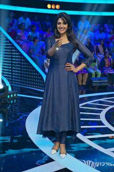 Cute Nyla Usha in blue kurti   mirror work
