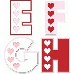 Silhouette Design Store - View Design #74212: hearts alphabet e f g h