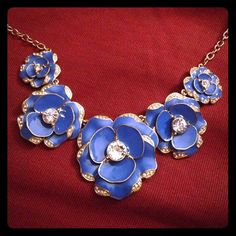 Kate Spade blue flower necklace Kate Spade NY beach house bouquet necklace. 12k gold plate/enamel glass. Never been worn, tags still on. kate spade Jewelry Necklaces