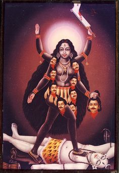 Vintage Re-print of Hindu Goddess Kali Maa by Jothi Studios Kali Mata, Jay Maa Kali, Indian Goddess, Kali Goddess, Mother Goddess, Kali Hindu, Hindu Art, Maa Kali Photo, Maa Kali Images