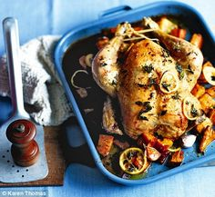 Chicken with oregano, lemon and sweet potatoes