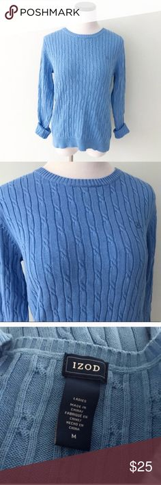 "IZOD Blue Crewneck cable knit Sweater Great condition. Gently worn and never put in dryer. Cable knit sweater with crewneck. Length 24"". Chest 19.5"". Size ladies Medium. Izod Sweaters Crew & Scoop Necks"