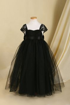 Classic Black Tulle & Lace Tutu Flower Girl Dress by LingsBridal, $69.00