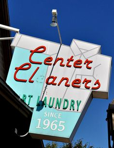 Vintage Cleaners Sign - Chicopee, Massachusetts Old Neon Signs, Vintage Neon Signs, Old Signs, Vintage Advertising Signs, Vintage Advertisements, Chicopee Massachusetts, Roadside Attractions, Googie, Sign Language