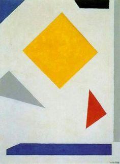 """Vilmos Huszar """"composición"""" 1955-1960 (óleo sobre cartón)"""