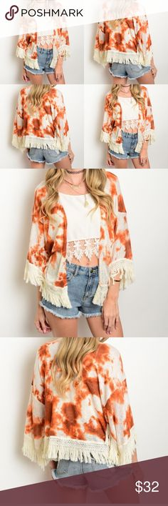 ‼️PRE - ORDER NOW‼️TIE DYE PRINT KIMONO ‼️PLEASE ALLOW ME 7 - 8 DAYS TO BE SHIP YOUR ORDER‼️🌸MADE IN USA🌸MATERIAL : 100% POLYESTER 🌸TRUE TO SIZE🌸THIS TIE DYE PRINT KIMONO FEATURES AN OPEN FRONT AND TASSEL TRIMMED HEM🌸‼️REMINDER : ONCE YOU PURCHASE THIS ITEM PLEASE DO NOT CANCEL IT‼️🌸💕BEAUTIFUL KIMONO PERFECT FOR SPRING/SUMMER OUTFIT😍🌸💕CAN BE WEAR ON OCCASIONS TOO🌸 CZARLEY Sweaters Cardigans