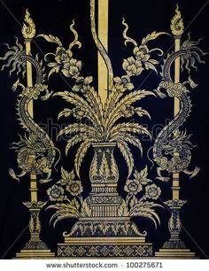 Ancient Thai Art On Temple Door Stock Photo 100275671 : Shutterstock