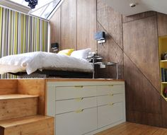 Modern loft bed perfect for small bedrooms | Visit http://www.suomenlvis.fi/