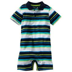Jumping Beans Striped Polo Romper - Baby